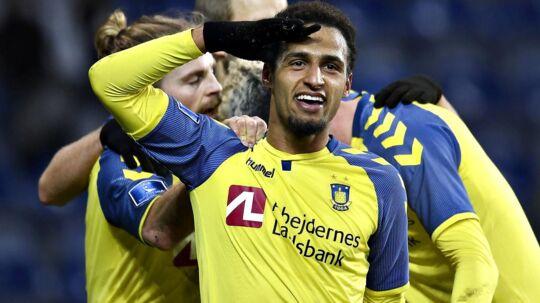 Brødnbys Hany Mukhtar scorede til 1-0 i superligaopgøret på Brøndby Stadion mod OB.