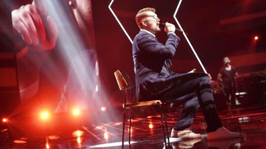 Rasmus på scenen. X Factor 11, liveshow 6, fredag den 30. Marts 2018 (Foto: Martin Sylvest/Ritzau Scanpix 2018)