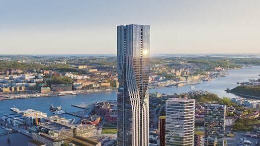 Her ses Karlatornet, som firmaet Serneke præsenterer den 245 meter høje bygning.