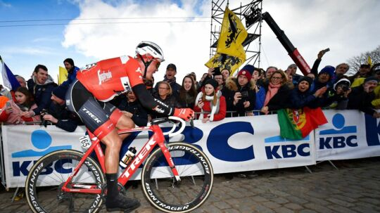 Danish Mads Pedersen of Trek-Segafredo competes in the 102nd edition of the 'Ronde van Vlaanderen - Tour des Flandres - Tour of Flanders', a one day cycling race, 264, 7km from Antwerp to Oudenaarde, on the Paterberg hill in Kluisbergen on April 1, 2018. / AFP PHOTO / Belga / DAVID STOCKMAN / Belgium OUT