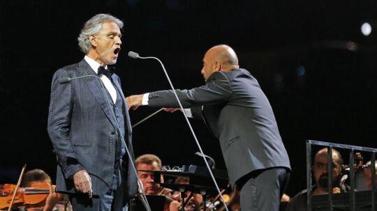 Andrea Bocelli, der også er kendt som den blinde tenor, giver koncert i Royal Arena i København 12. marts 2019. Scanpix/Khalil Mazraawi
