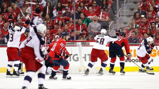 WASHINGTON, DC - APRIL 12: Artemi Panarin #9 of the Columbus Blue Jackets celebrates after scoring the game-winning goal against the Washington Capitals in overtime in Game One of the Eastern Conference First Round during the 2018 NHL Stanley Cup Playoffs at Capital One Arena on April 12, 2018 in Washington, DC. Patrick Smith/Getty Images/AFP == FOR NEWSPAPERS, INTERNET, TELCOS & TELEVISION USE ONLY ==