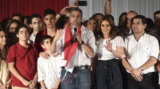 Paraguay valgte søndag landets nye præsident. Det bliver regeringspartiet Colorados kandidat Mario Abdo Benitez, der nu skal lede landet de næste fem år. Scanpix/Eitan Abramovich