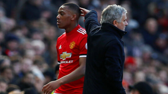 "Soccer Football - Premier League - Manchester United vs Chelsea - Old Trafford, Manchester, Britain - February 25, 2018 Manchester United's Anthony Martial walks past manager Jose Mourinho as he is substituted Action Images via Reuters/Jason Cairnduff EDITORIAL USE ONLY.No use with unauthorized audio, video, data, fixture lists, club/league logos or ""live"" services. Online in-match use limited to 75 images, no video emulation.No use in betting, games or single club/league/player publications. Please contact your account representative for further details."