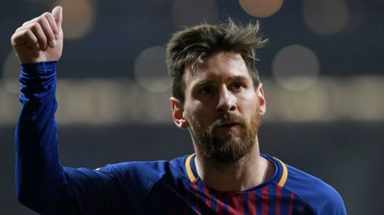 Barcelona's Argentinian forward Lionel Messi gesyures during the Spanish Copa del Rey (King's Cup) final football match Sevilla FC against FC Barcelona at the Wanda Metropolitano stadium in Madrid on April 21, 2018. / AFP PHOTO / LLUIS GENE
