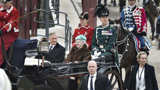 Der er mange udgifter forbundet med at være Dronning. Blandt andet statsbesøg, som her, da kong Philippe af Belgien i 2017 var på besøg.