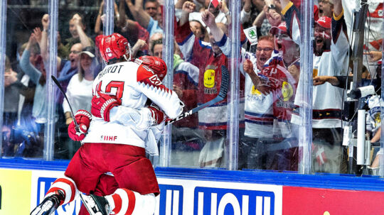 Nichlas Hardt of Denmark have scored the winning goal to 3-2 during the IIHF World Championship Group B match between Finland and Denmark in Jyske Bank Boxen in Herning, Denmark, Wednesday, May 9 , 2018.