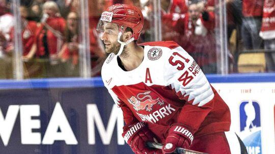 Frans Nielsen i aktion på det danske ishockeylandshold under den igangværende VM-slutrunde.