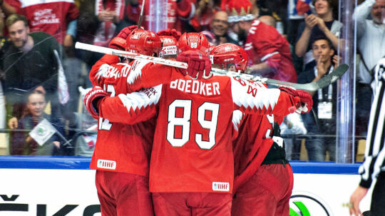 Nichlas Hardt of Denmark have scored for 3-1 during the IIHF World Championship Group B match between Denmark and Korea in Jyske Bank Boxen in Herning, Denmark, Saturday, May 12 , 2018.. (Foto: Henning Bagger/Ritzau Scanpix)
