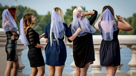Young women take part in a bachelorette party in Nizhny Novgorod on August 26, 2017. Nizhny Novgorod will host several games of the FIFA World Cup 2018. Mladen ANTONOV / AFP