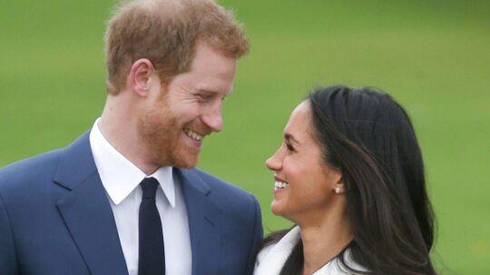 Meghan Markle og prins Harry ved forlovelsen i efteråret.