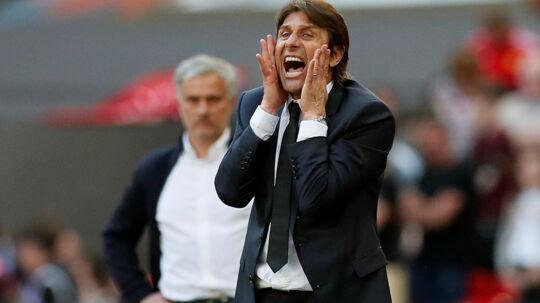Chelsea med Antonio Conte i spidsen vandt lørdag den engelske FA Cup over Manchester United med 1-0. Reuters/David Klein