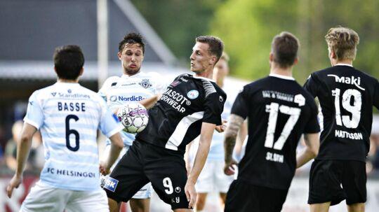Gustaf Nilsson (9) fra Silkeborg IF under Alka Superliga-kampen mellem FC Helsingør og Silkeborg IF på Helsingør Stadion, torsdag den 17. maj 2018. Foto: Philip Davali/Ritzau Scanpix