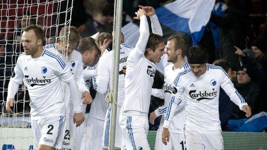 Kris Stadsgaard jubler efter en af sine to scoringer for FCK.