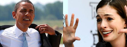 Skuespillerinden Anne Hathaway var bange for at stole på Obama, da hun mødte ham første gang.