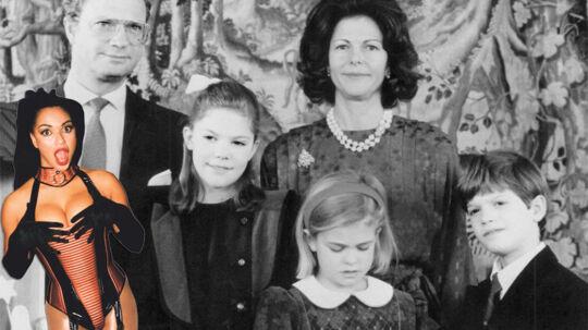 Kong Carl Gustaf med dronning Silvia og resten af den kongelige familie fotograferet i den periode, hvor han dyrkede Camilla Henemark som elskerinde.