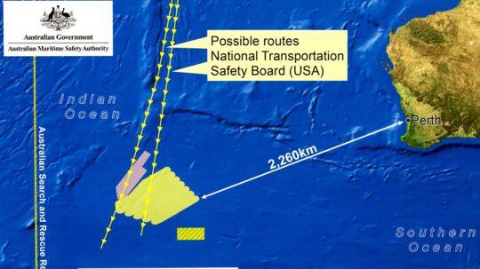Her ses et diagram over søge-området for Malaysia Airlines Flight MH370 i det sydlige af det Indiske Ocean
