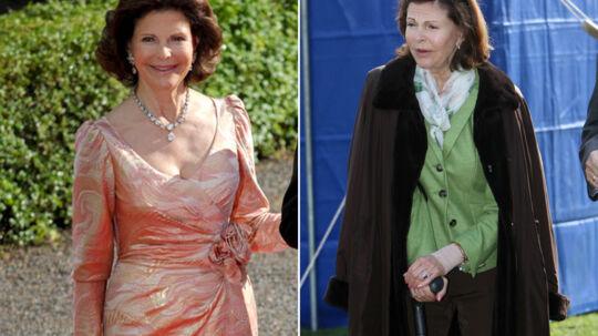 Dronning Silvia i dag (til højre) og som hun så ud i juni sidste år (til venstre). Noget af en forvandling på 10 måneder.