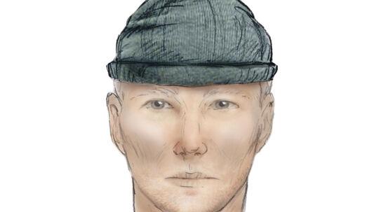 På billedet en tegning, som B.T. har fået lavet ud fra politiets signalement. Det er ikke en officiel politi-fantomtegning.