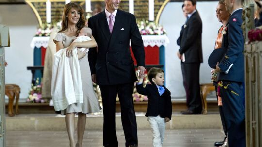 epa03227756 Danish Prince Joachim (C), his son Prince Henrik (R) and his wife Princess Marie (L) leave Mogeltonder Church after christening their daughter Athena Marguerite Francoise Marie, in Mogeltonder, Denmark, 20 May 2012. EPA/Keld Navntoft DENMARK OUT