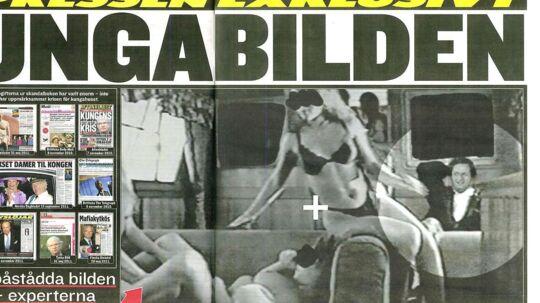 Dette billedet af den svenske konge Carl Gustaf, der ser fornøjeligt til, mens tre kvinder dyrker sex, er falsk. Kongens hoved er klippet ud fra et ældre interview og sat ind i billedet, hævder en ekspert.