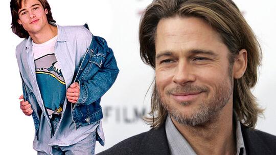 Brad Pitt tilbage i 1987 og nu, hvor han ligner en mand, der har fået det liv, han gerne vil have.