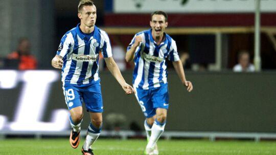 Jakob Ankersen (tv) efter sit første mål i mandagens sejr over FC Vestsjælland