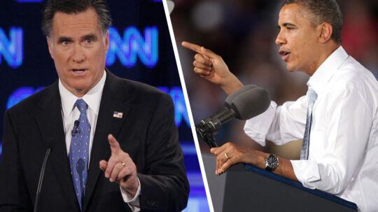 I aften går det løs - klokken 03 dansk tid. Præsident Obama møder sin udfordrer, Mitt Romney, i en direkte tv-duel.
