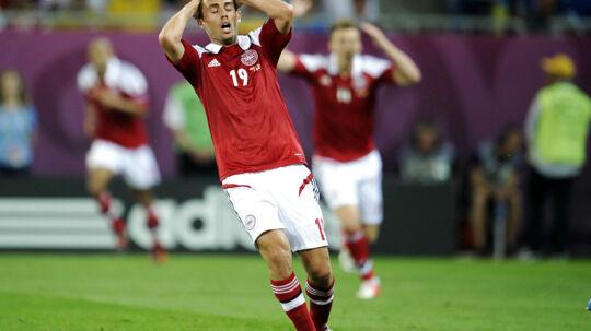 Jakob Poulsen er ønskespilleren i FC Midtjylland BV.: EM 2012 Danmark - Tyskland (1-2). Danmarks Jakob Poulsen under kampen søndag d. 17. juni 2012. (Foto: Claus Bech/Scanpix 2012).