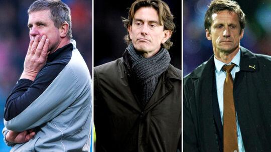 AaB-træner Kent Nielsen (tv.), Brøndby-træner Thomas Frank (midten) og OBs cheftræner Troels Bech.
