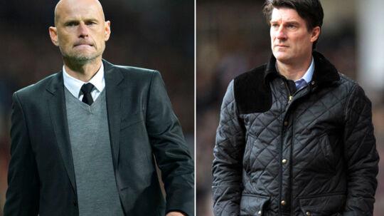 FCKs cheftræner Ståle Solbakken (tv.) revser Swansea for sin behandling af Michael Laudrup.