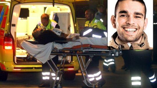 Offeret, hvis liv ikke stod til at redde, køres bort efter skyderiet i Tingbjerg i august 2008. På det lille foto ses den tiltalte Mazdak Fabricius.