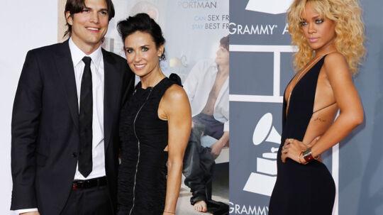 Demi Moore og Ashton Kutcher dengang alt endnu var fryd og gammen. Nu er parret gået fra hinanden og Demi Moore er angiveligt rasende over rygter om, at Kutcher har kastet sin kærlighed på den labre sangerinde, Rihanna.