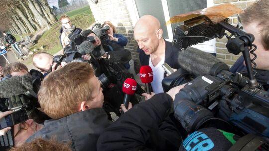 Den fyrede AGF-træner Peter Sørensen taler med pressen efter at have sagt farvel til spillerne torsdag
