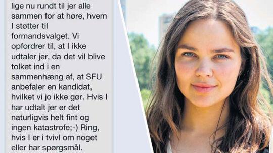 Gry Möger, er formand for SFU. Hun anbefaler medlemmerne til at lade være med at udtale sig om formandsvalget