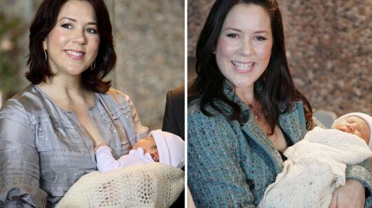 Her ses Mary efter sine to foregående fødsler. Til venstre efter fødslen af prinsesse Isabella i 2007 og til højre efter fødslen af prins Christian i 2005.