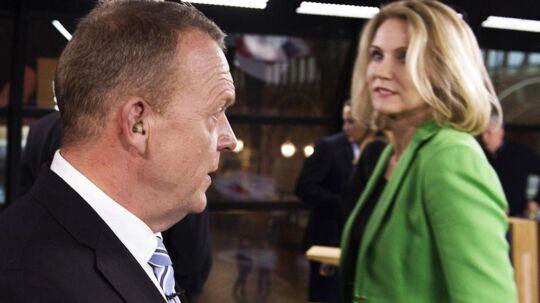 Lars Løkke Rasmussen og Helle Thorning-Schmidt ved partilederdebatten på dagen for valgets udskrivelse.