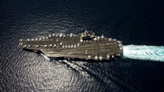 Det er et hangarskib af Nimitz-typen som Iran tilsyneladende er ved at bygge.