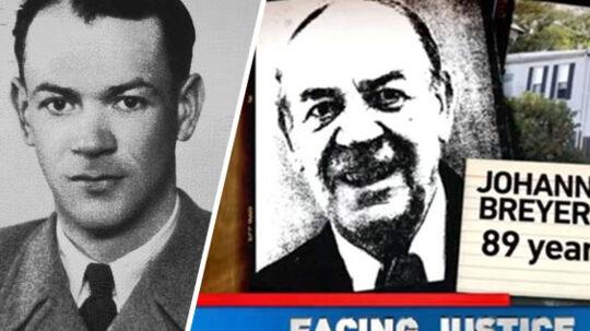 Tv.: Johann Breyer som han så ud, da han i 1951 søgte om visum til USA. Th.: Fængslingen og sigtelsen af Johann Breyer blev dækket af alle store amerikanske tv-stationer.
