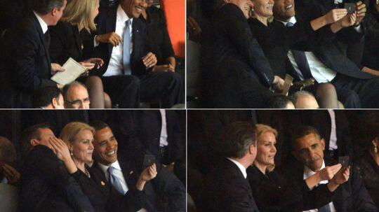 Helle Thorning-Schmidt tager billeder af sig selv sammen med den amerikanske præsident, Barack Obama (th), og den britiske premierminister David Cameron.