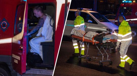 Til venstre ses Anders, der får varmen i brandbilen, mens den 39-årige til højre ses, da han er på vej på hospitalet.