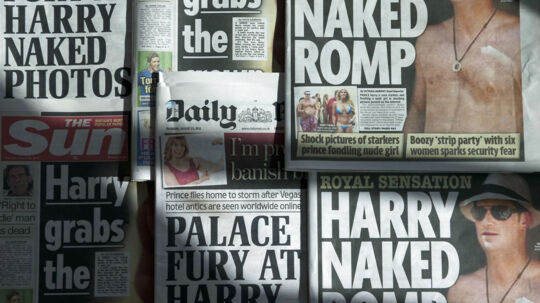 "An arrangment of British daily newspapers photographed in London on August 23, 2012 shows the front-page headlines and stories regarding nude pictures of Britain's Prince Harry. The British royal family on August 23 warned the country's newspapers not to publish nude photographs of Prince Harry cavorting with friends on holiday in Las Vegas. Newspapers on Thursday adhered to the palace's request with The Mirror having ""Harry naked romp"" splashed across its front page while the Daily Mail ran with ""Palace fury at Harry naked photos"" as its main headline. AFP PHOTO / DANIEL SORABJI"