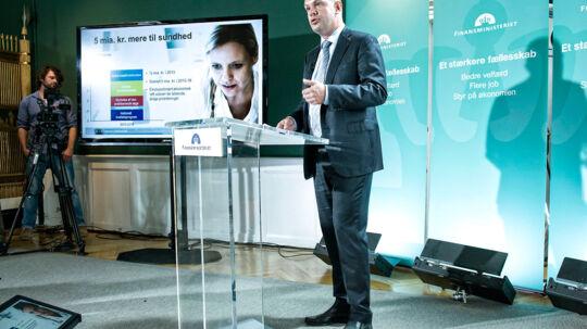 Finansminister Bjarne Corydon (S) præsenterer finanslovsforslaget tirsdag 26. august 2014 på et pressemøde i Finansministeriet. (Foto: Jens Nørgaard Larsen/Scanpix 2014)