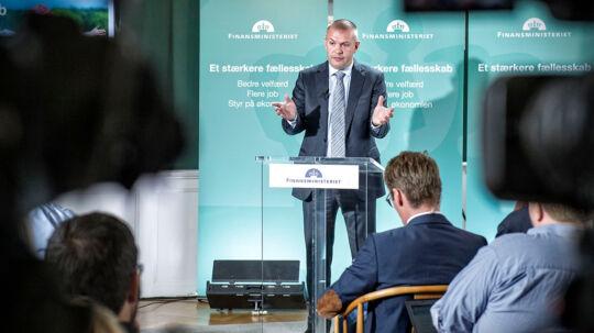 Finansminister Bjarne Corydon (S) præsenterer finanslovsforslaget tirsdag d.26. august 2014 på et pressemøde i Finansministeriet. (Foto: Jens Nørgaard Larsen/Scanpix 2014)