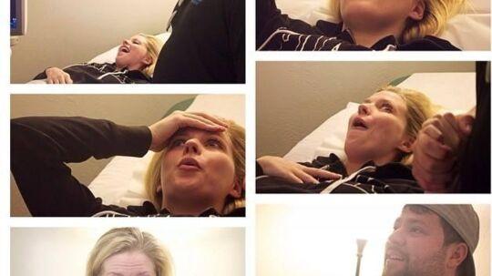 På Facebook har Ashley og Tyson Gardner lagt billeder ud af det øjeblik, hvor de finder ud, at de venter to sæt tvillinger