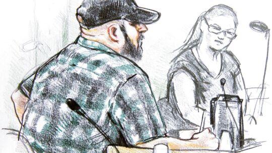 Her ses en tegning fra retten af den tiltalte