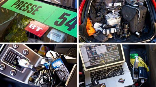 Det bliver til rigtig mange timer på fire hjul, når det er blandet kørsel på motorvej og de store bjerge. Og bilen skal være så rummelig, at dfer er plads til de udsendtes voluminøse bagage, fotoudstyr og computere. Plus det løse.