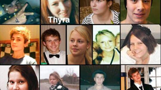 Her ses de 13 elever fra ulykken.