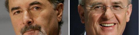 Bernd Pischetsrieder (tv) og Martin Winterkorn, der tager over. Foto: Reuters