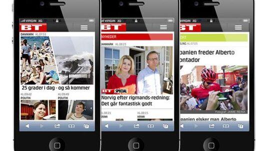 BTs nye mobilsite, som blev lanceret mandag morgen.